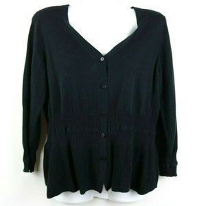 Cabi Womens 3/4 Sleeve Ribbed Button Up Cardigan